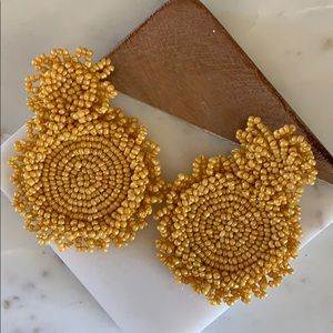 BOGO! Yellow Beaded Statement Earrings